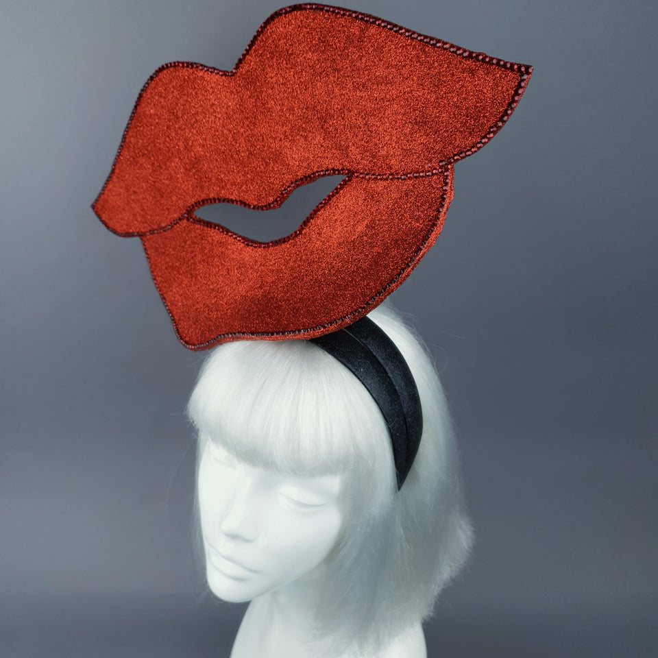 """Smooch"" Giant Red Glitter Lips Headpiece"