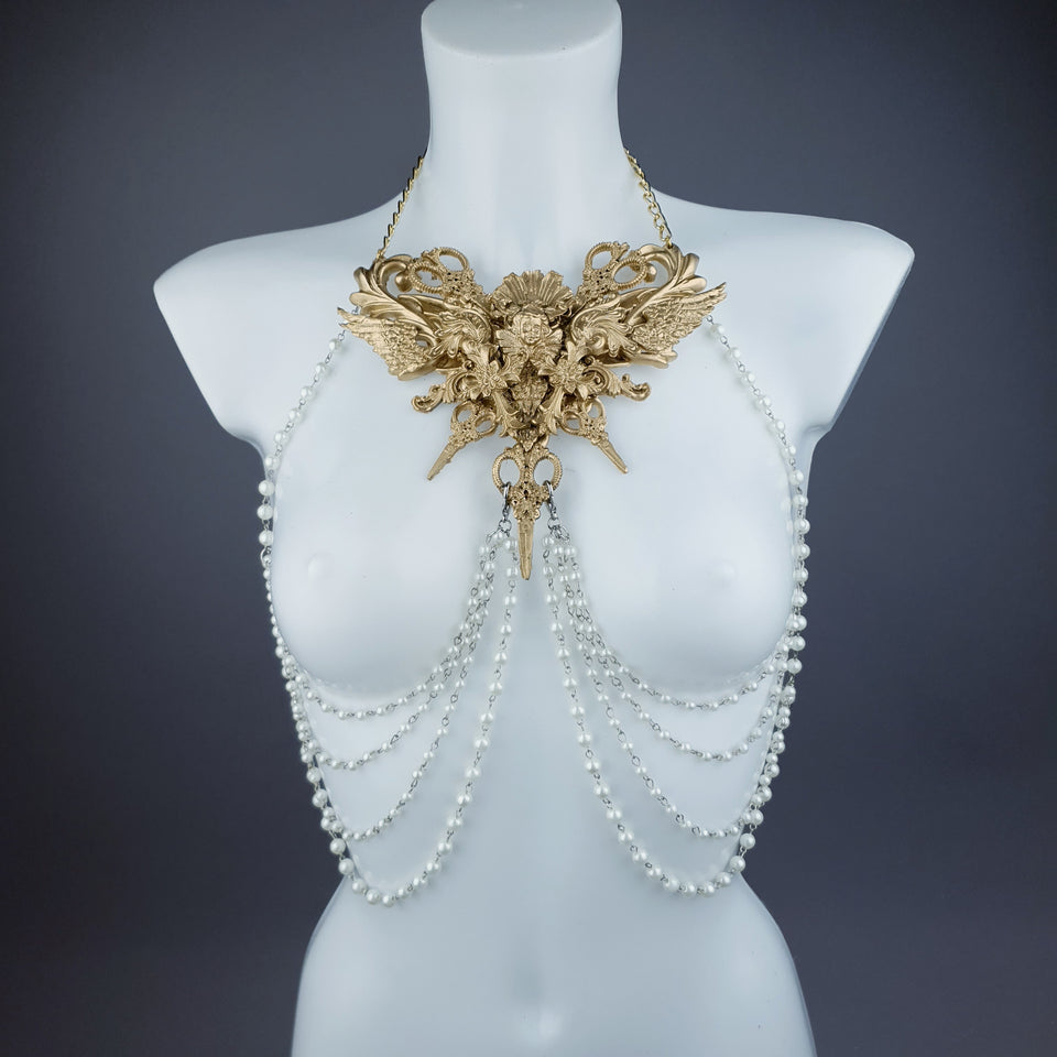 """Deianira"" Gold Filigree & Pearl Ribcage Body Jewellery"