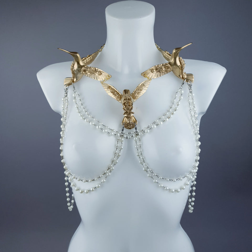 """Sidero"" Gold Hummingbirds & Pearl Body Jewellery"