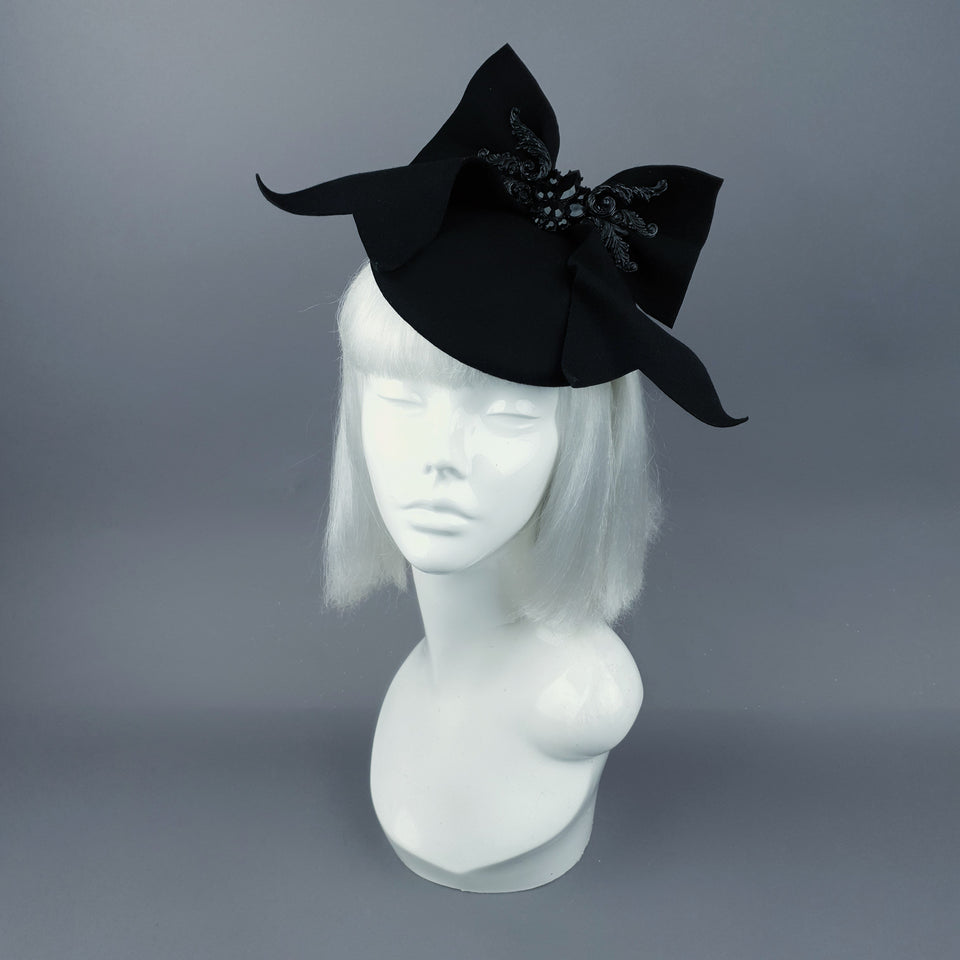 """Baby Doll"" Black Bow & Jewel Fascinator Hat"