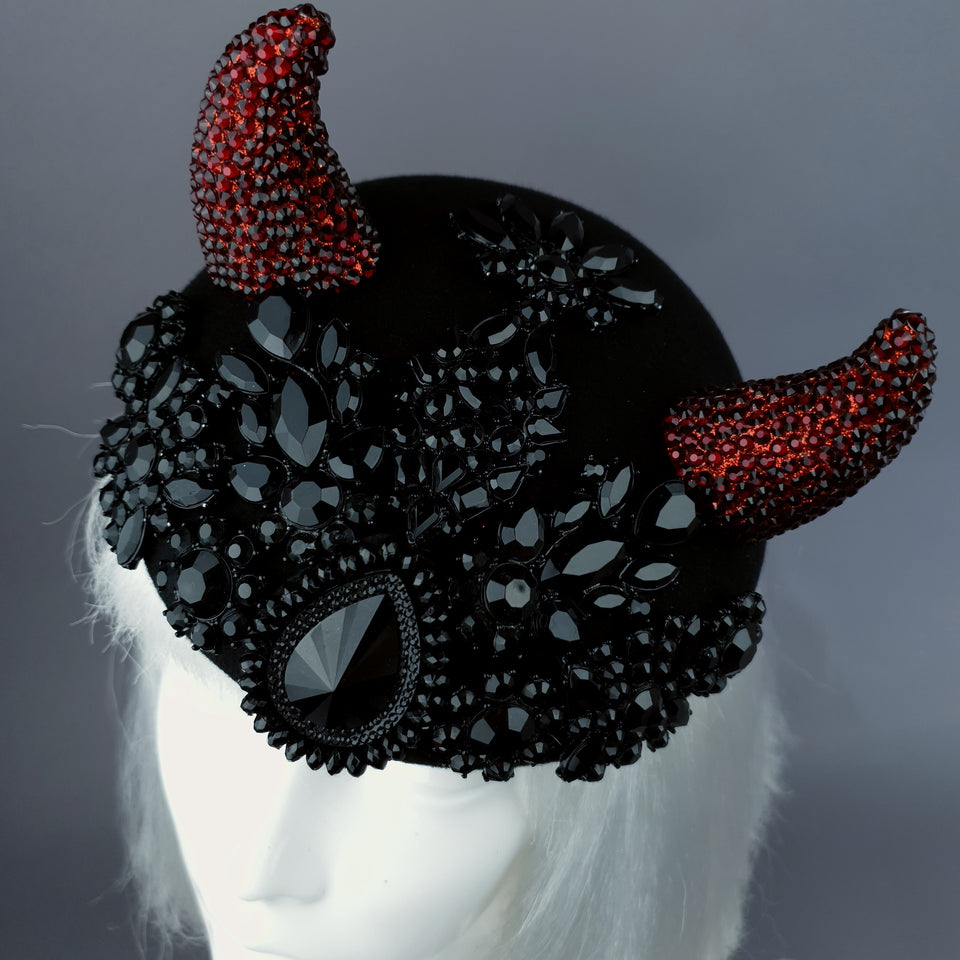 """Diosa del Amor"" Black & Red Crystal Horns Bejewelled Fascinator Hat"