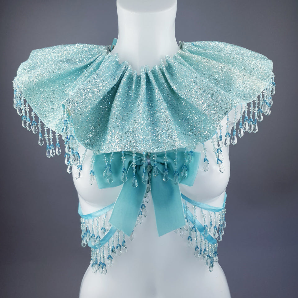 """Meri"" Aqua Blue Glitter Clown Collar and Beading Neckpiece"