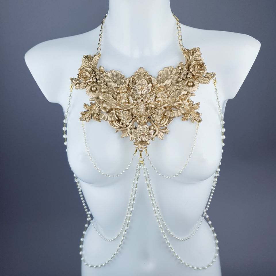 """Adira"" Gold Filigree & Pearl Body Jewellery"