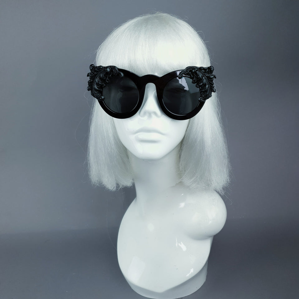 """Nakhti"" Black Filigree Statement Sunglasses"