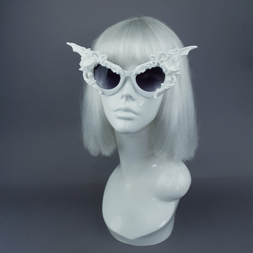 """Bathory"" White Filigree Ornate Bat Wing & Cherub  Sunglasses"