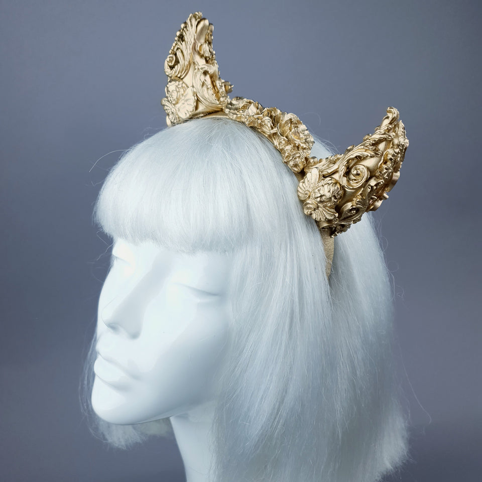 """Morning Star"" Gold Filigree Devil Horns Headband"