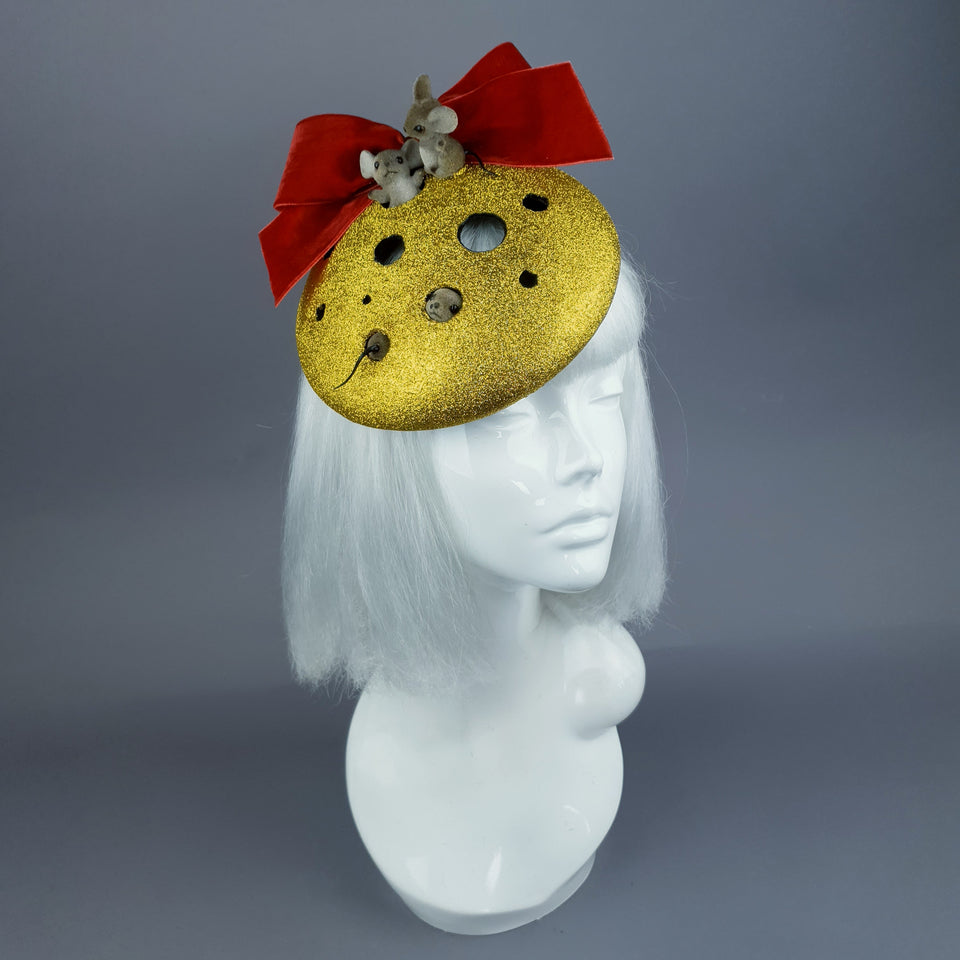 """Cheese the Day"" Cheese & Mice Fascinator Hat"