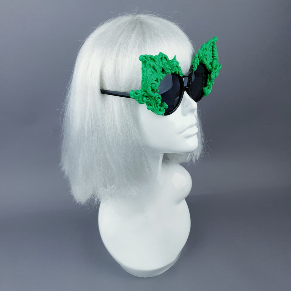 """Tòxic"" Green Filigree Ornate Sunglasses"