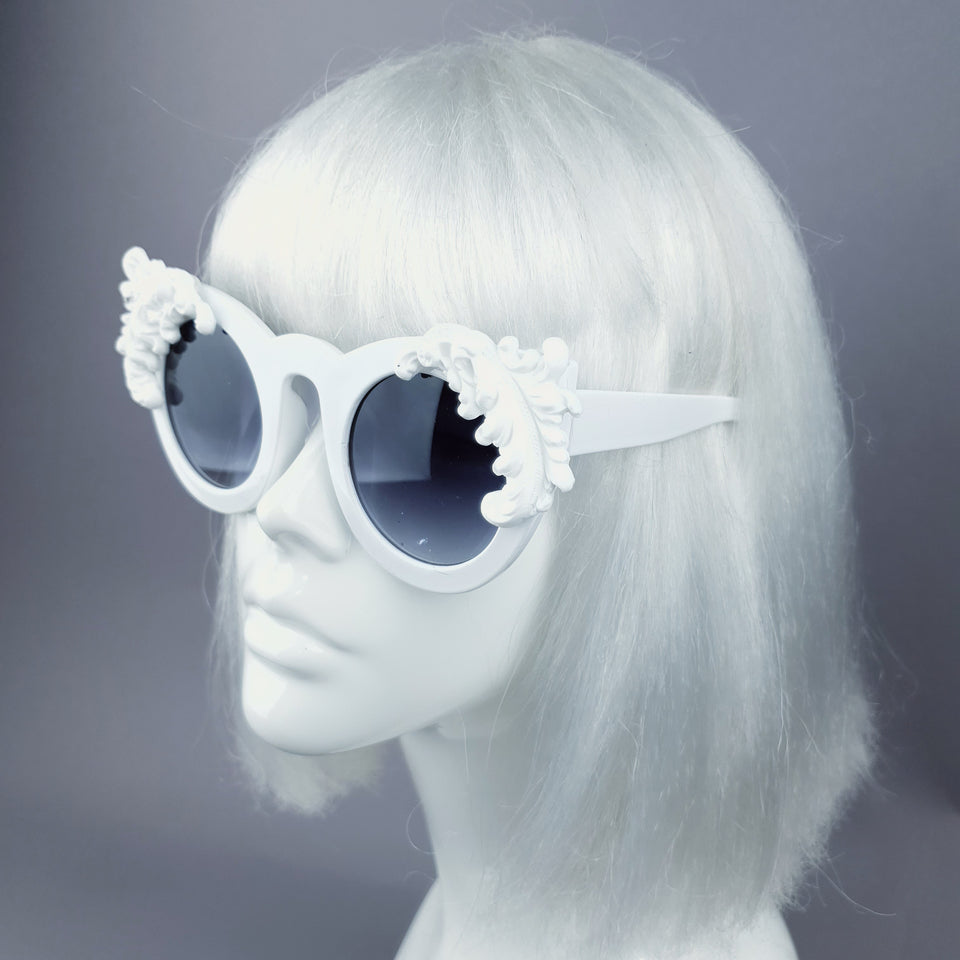 """Nakhti"" White Filigree Statement Sunglasses"
