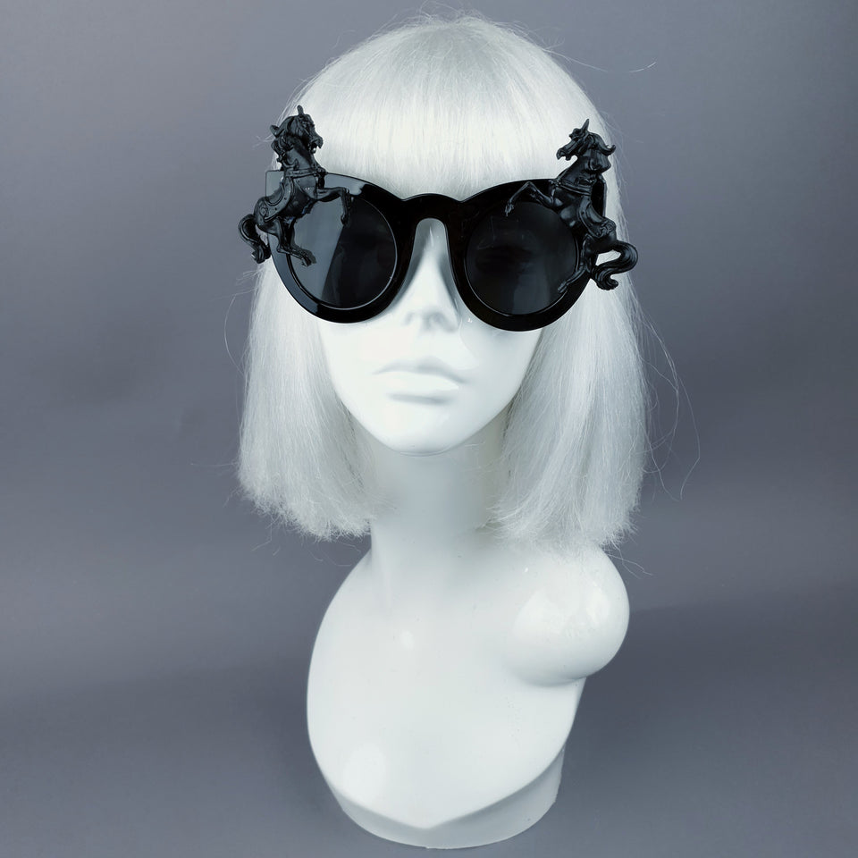 """Licorne"" Black Unicorn Statement Sunglasses"