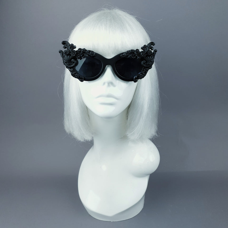 """Dysnomia"" Black Filigree Catseye Sunglasses"