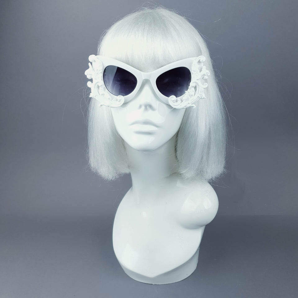 """Valencia"" White Filigree Catseye Sunglasses"