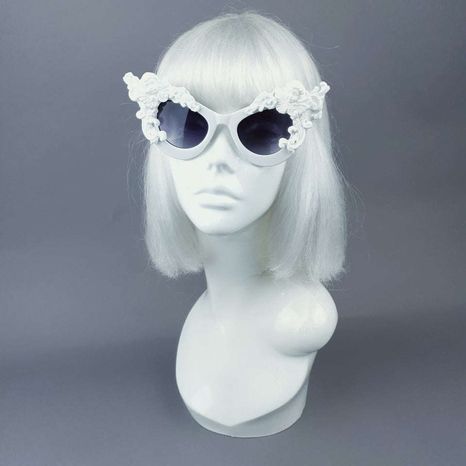 """Lestat"" White Filigree Cherub Catseye Sunglasses"
