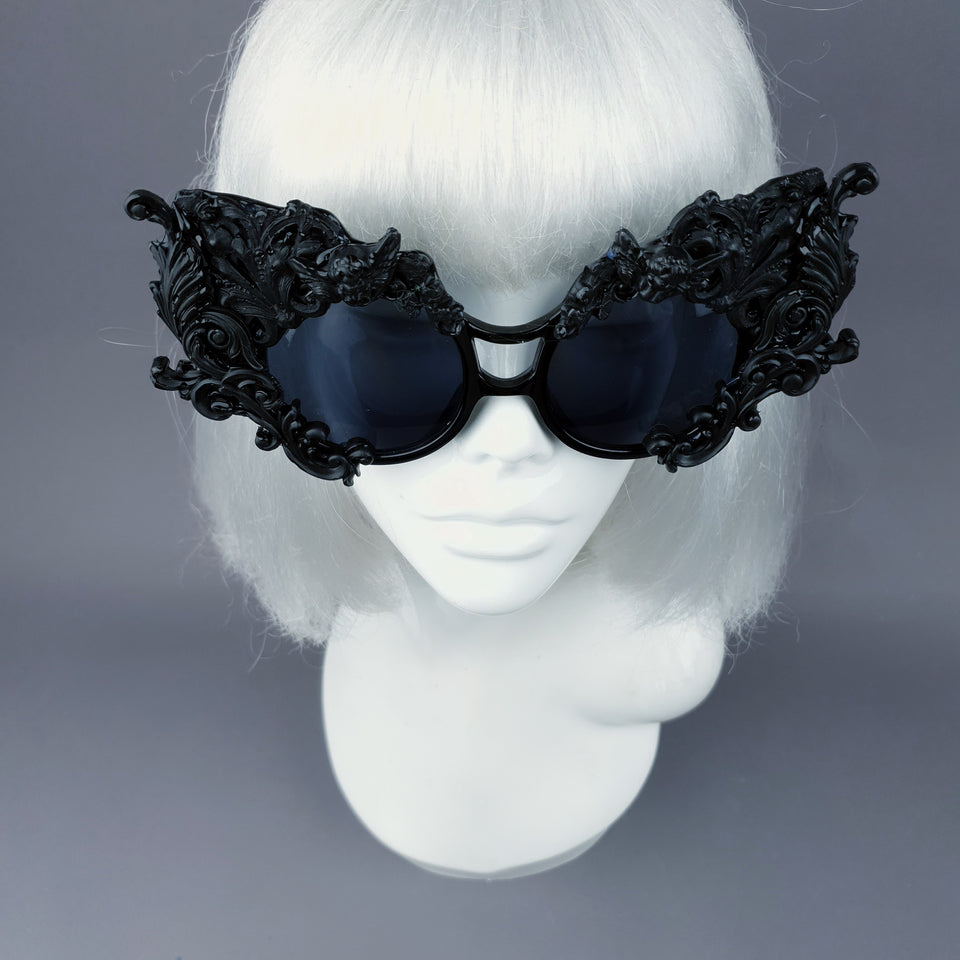 """Tòxic"" Black Filigree Ornate Sunglasses"