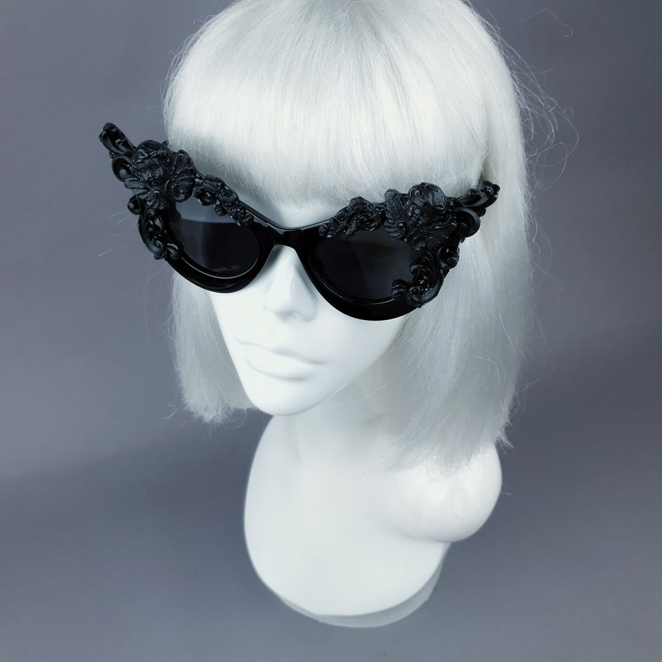 """Lestat"" Black Filigree Cherub Catseye Sunglasses"