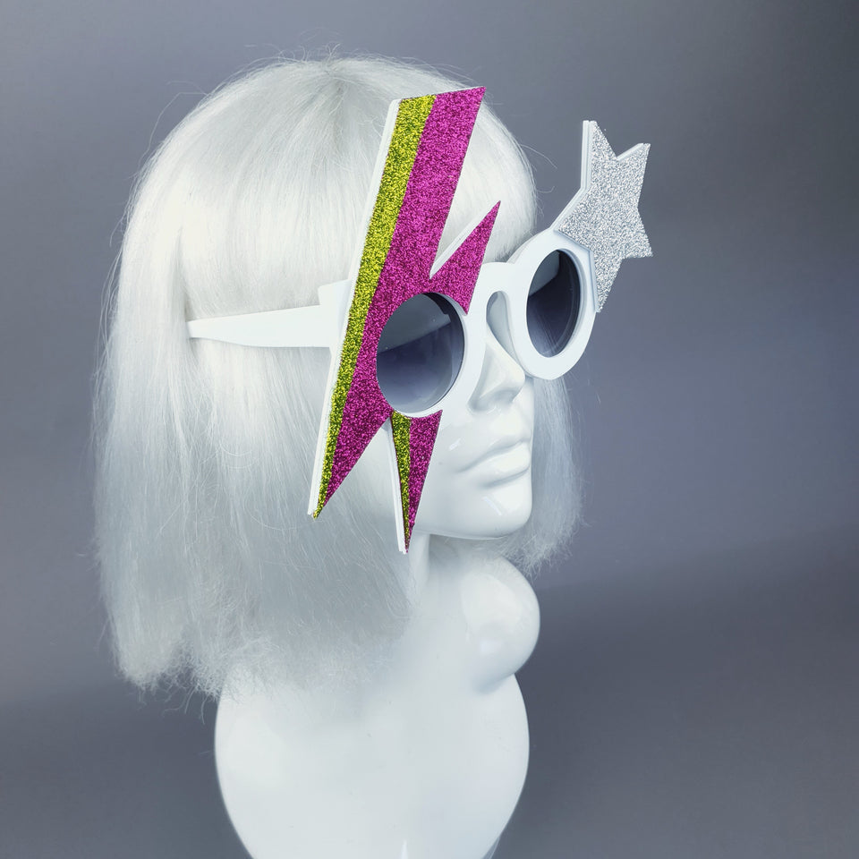 """Rebel Rebel"" Pink & Green Bowie Stripe Sunglasses"
