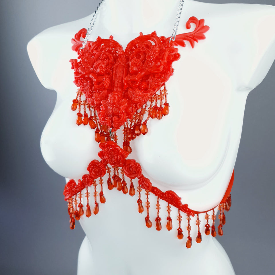 """Stigmata"" Red Filigree & Beading Body Jewellery"