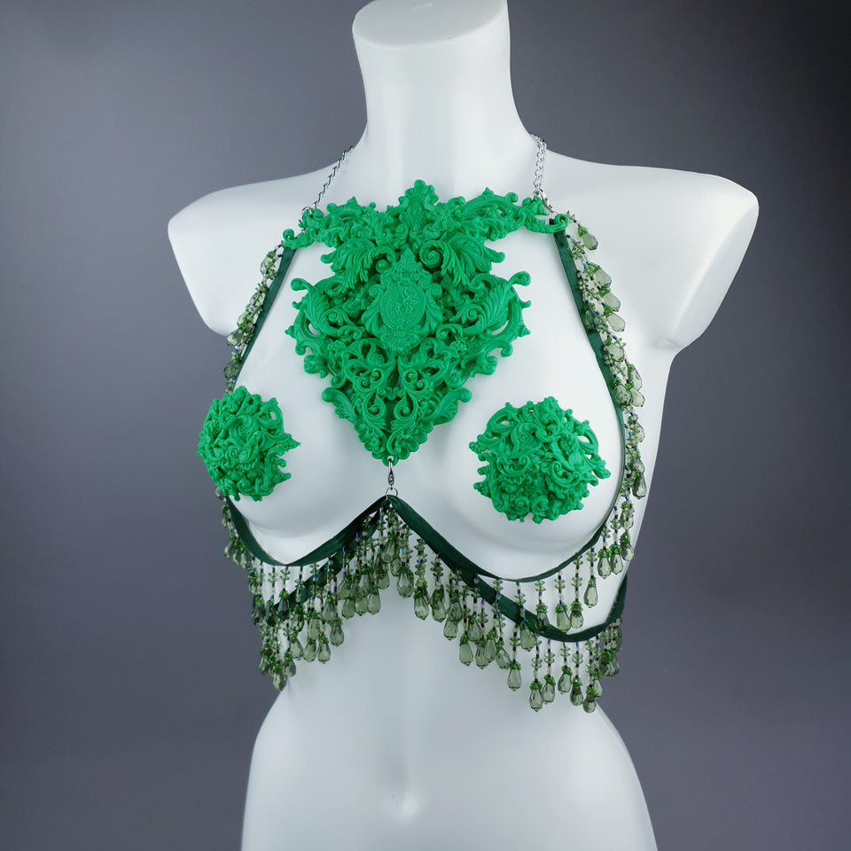 """Envy"" Green Filigree Nipple Pasties & Beading Body Jewellery"