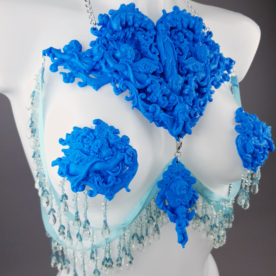"""Erzulie"" Blue Filigree Nipple Pasties & Beading Body Jewellery"