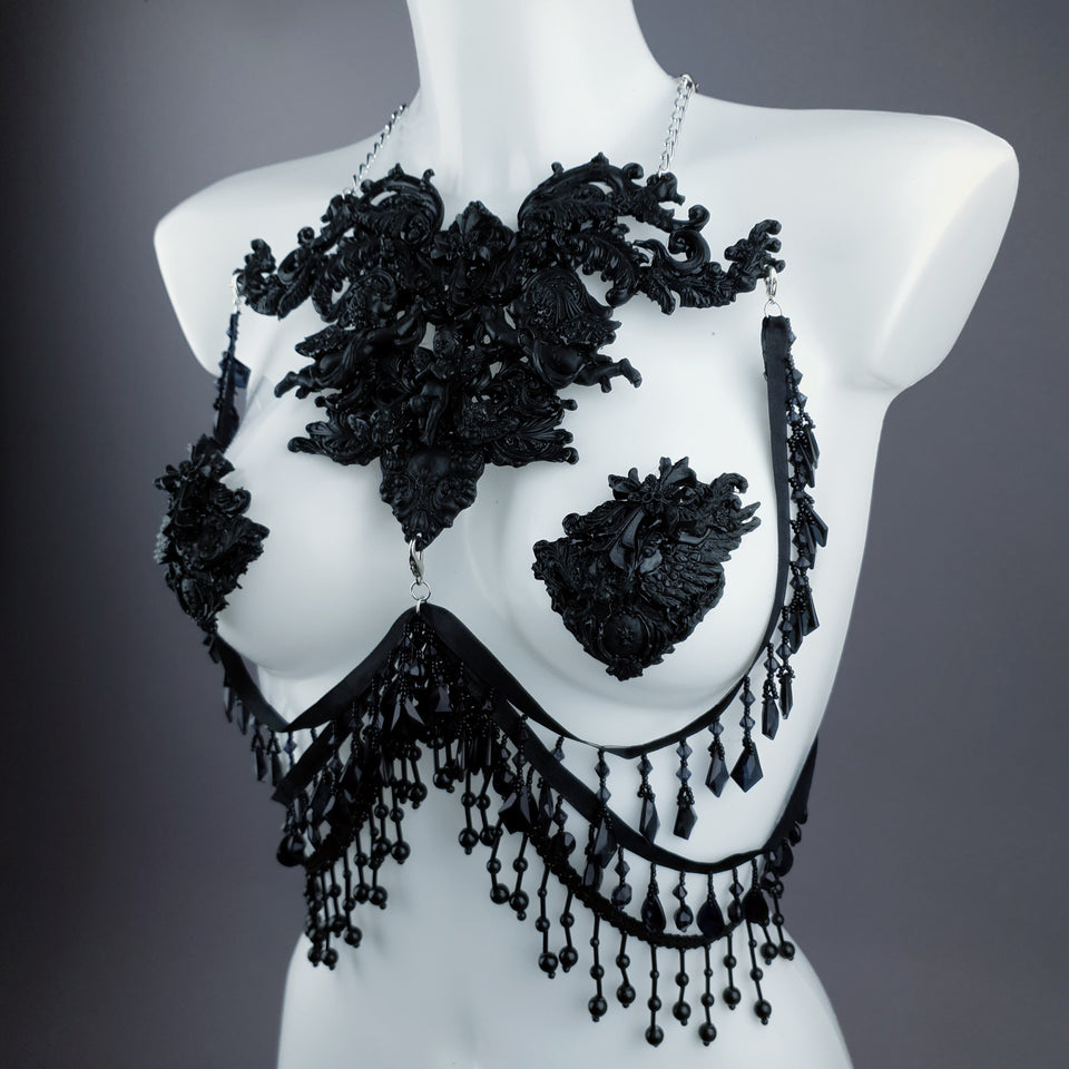 """Vanshni"" Black Filigree Nipple Pasties & Beading Body Jewellery"