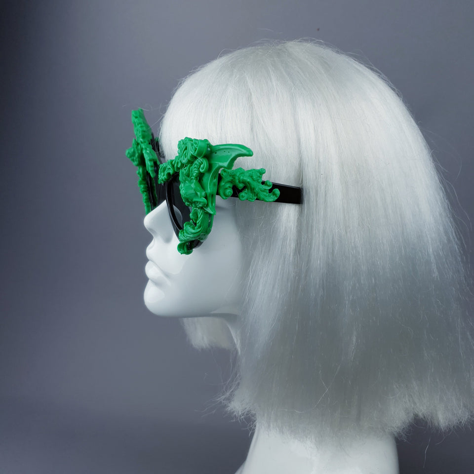 """Bathory"" Black & Green Filigree Ornate Bat Wing & Cherub  Sunglasses"