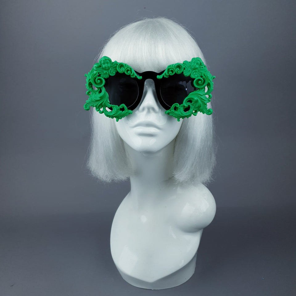 """Venus"" Black & Green Filigree & Cherub Baroque Sunglasses"