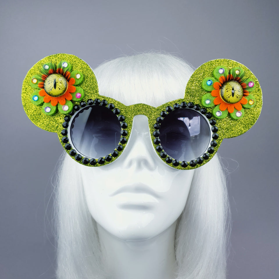 """Topo"" Green Flower Eyes Glitter Mouse Ear Sunglasses"