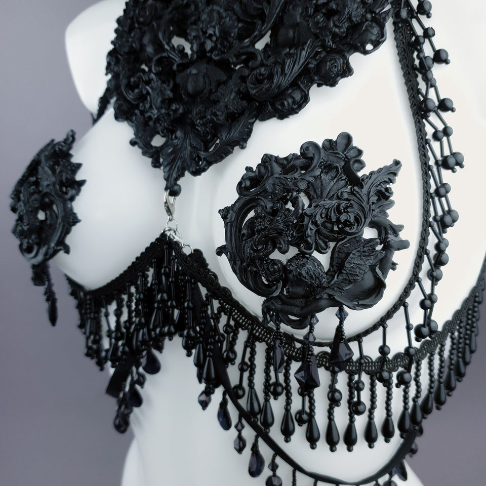 """Alzena"" Black Filigree & Beading Body Jewellery with Nipple Pasties"