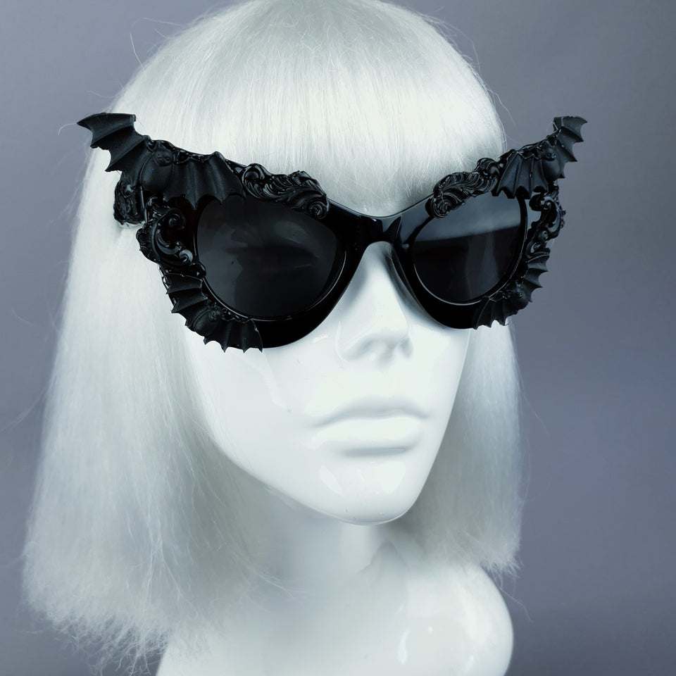 """Morticia"" Black Filigree & Bat Sunglasses"