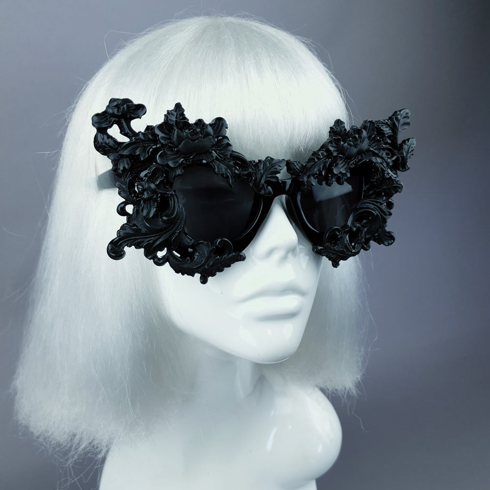"""Lamia"" Black Filigree Catseye Sunglasses"