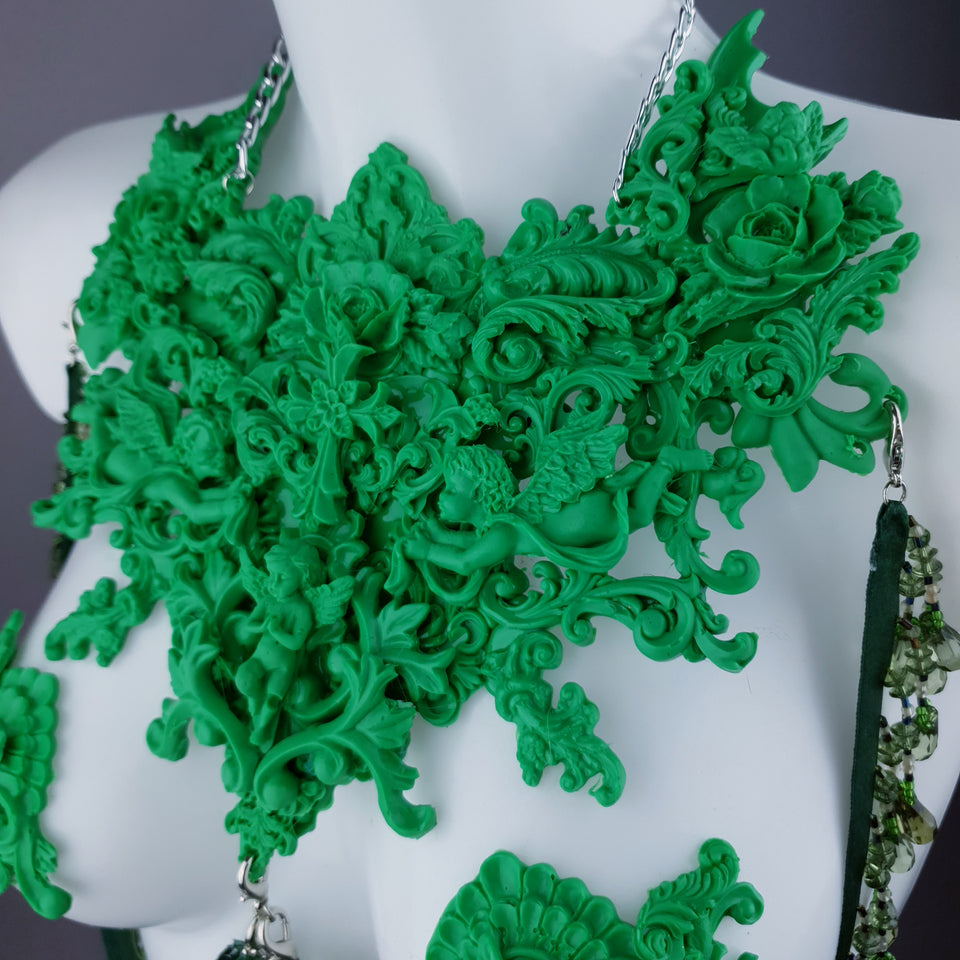 """Invidia"" Green Filigree Nipple Pasties & Beading Body Jewellery"