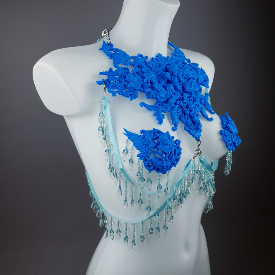"""De Hyacintho"" Blue Filigree Nipple Pasties & Beading Body Jewellery"