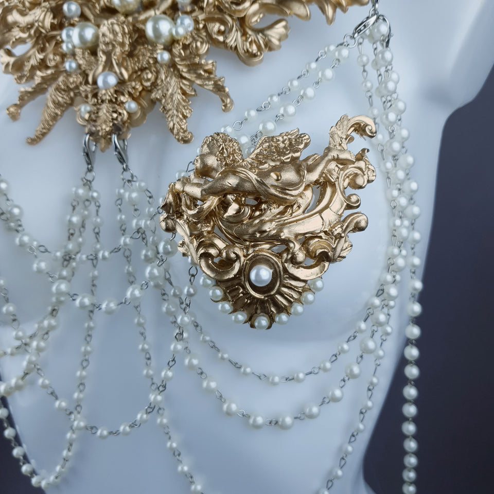 """Carrie"" Gold Filigree & Pearl Body Jewellery & Nipple Pasties"