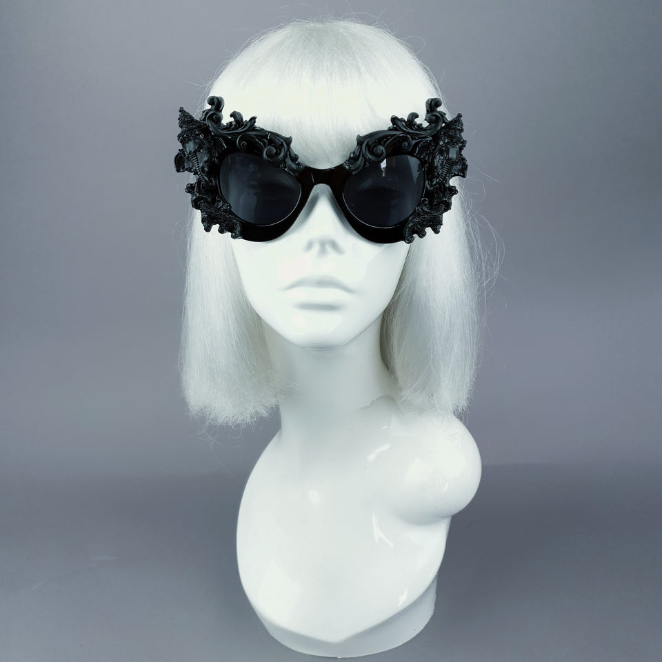 """Deva"" Black Filigree Ganesh Catseye Sunglasses"