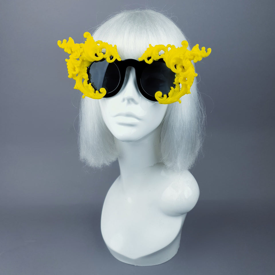 """La Barucci"" Ornate Yellow Filigree on Black Sunglasses"