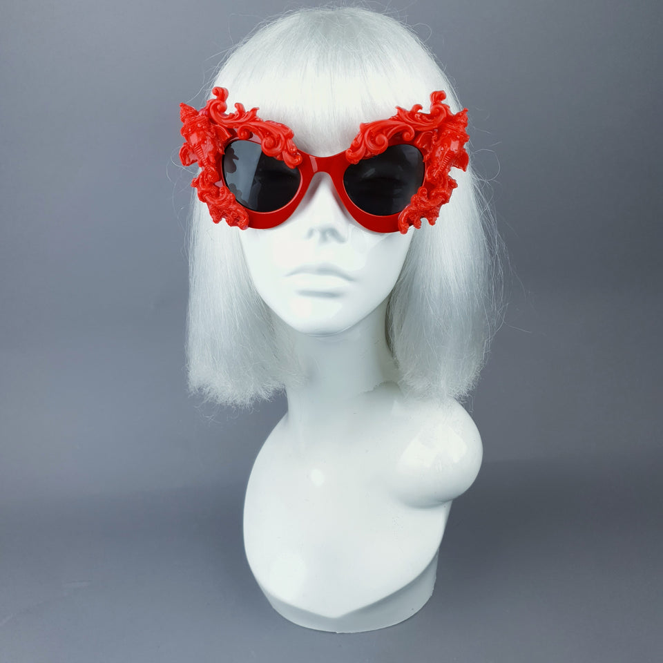 """Deva"" Red Filigree Ganesh Catseye Sunglasses"