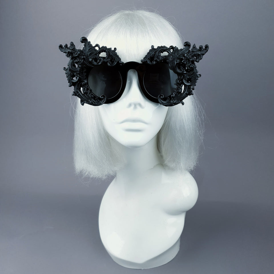 """La Barucci"" Ornate Black Filigree on Black Sunglasses"