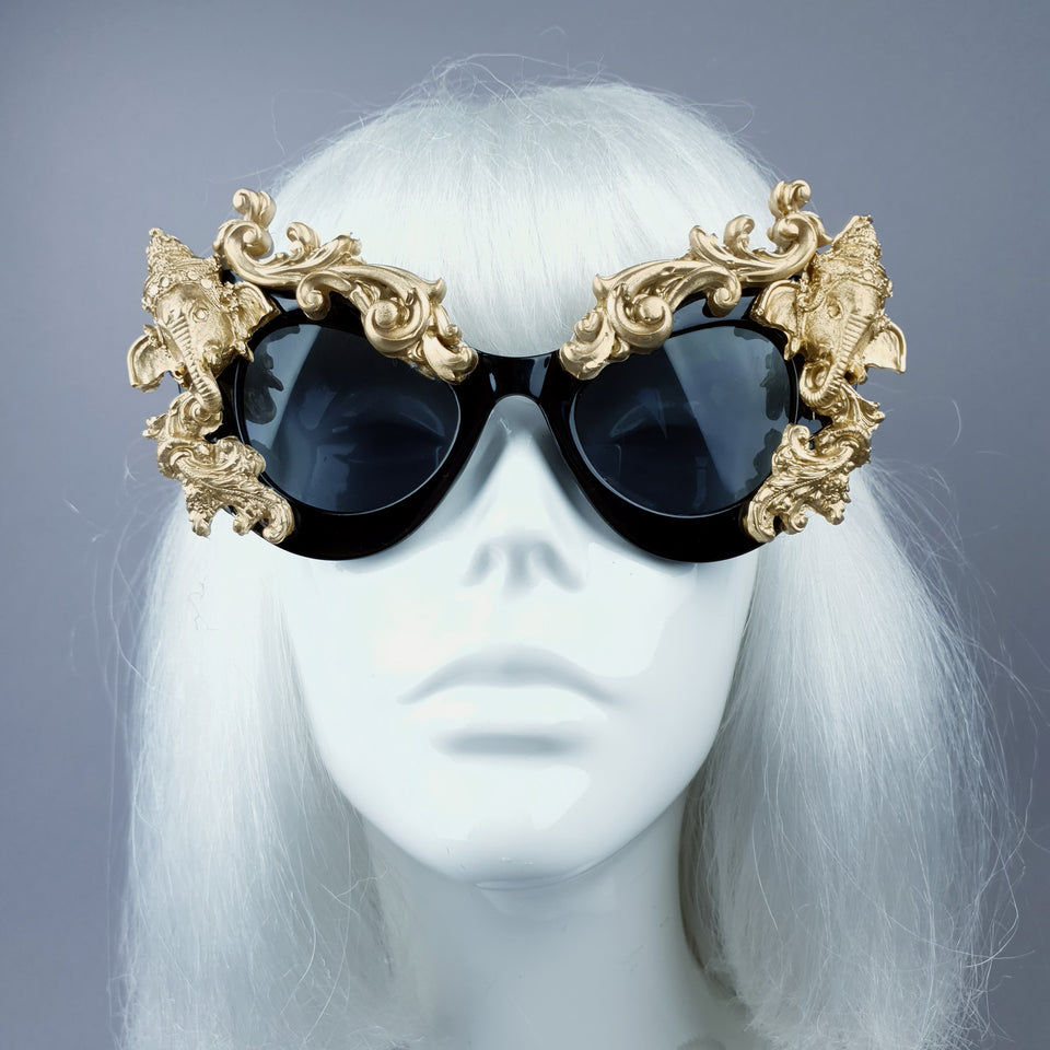"""Deva"" Black & Gold Filigree Ganesh Catseye Sunglasses"
