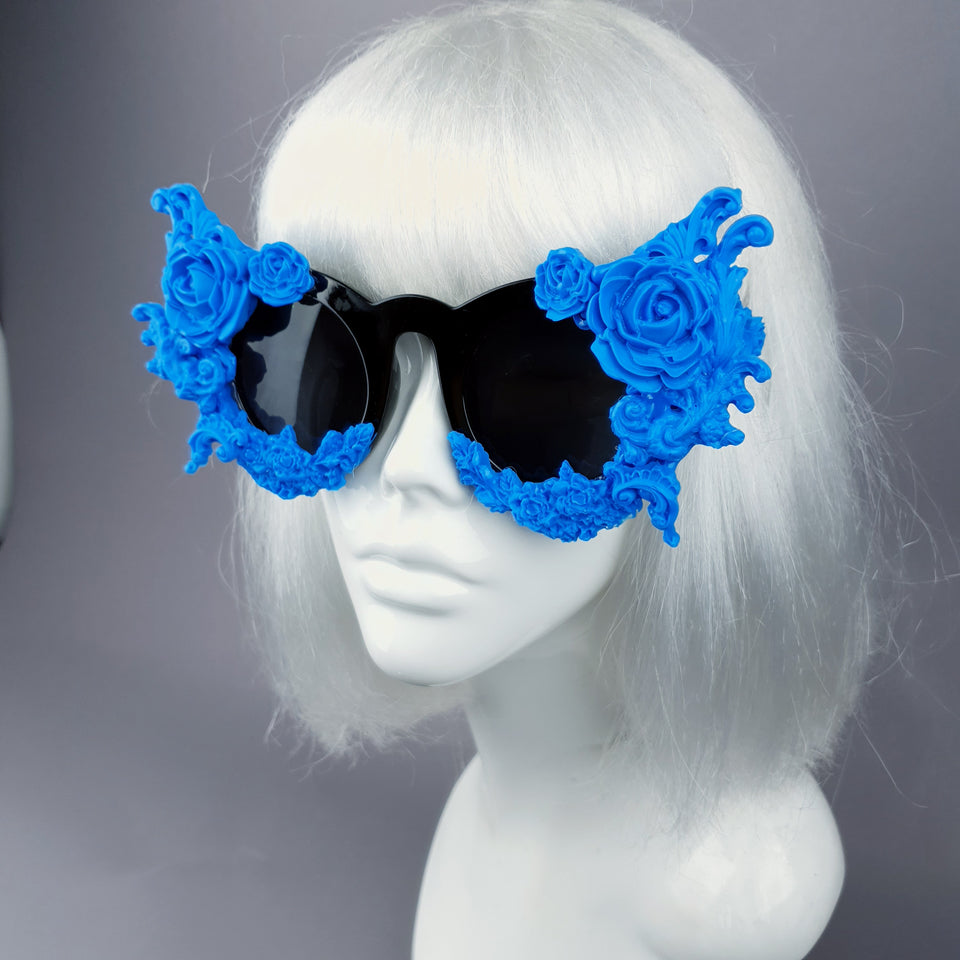 """La Belle Otero"" Ornate Blue Filigree on Black Sunglasses"