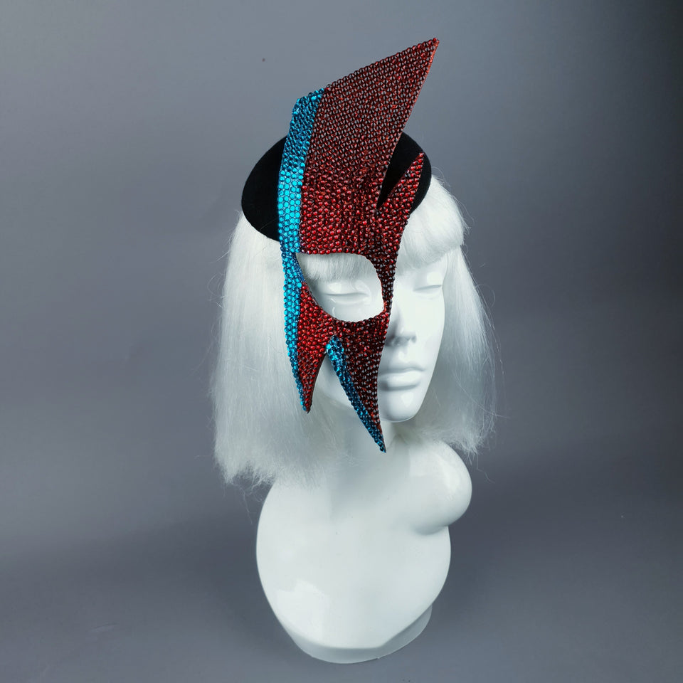 """Aladdin Sane"" David Bowie Lightning Bolt Mask Hat"
