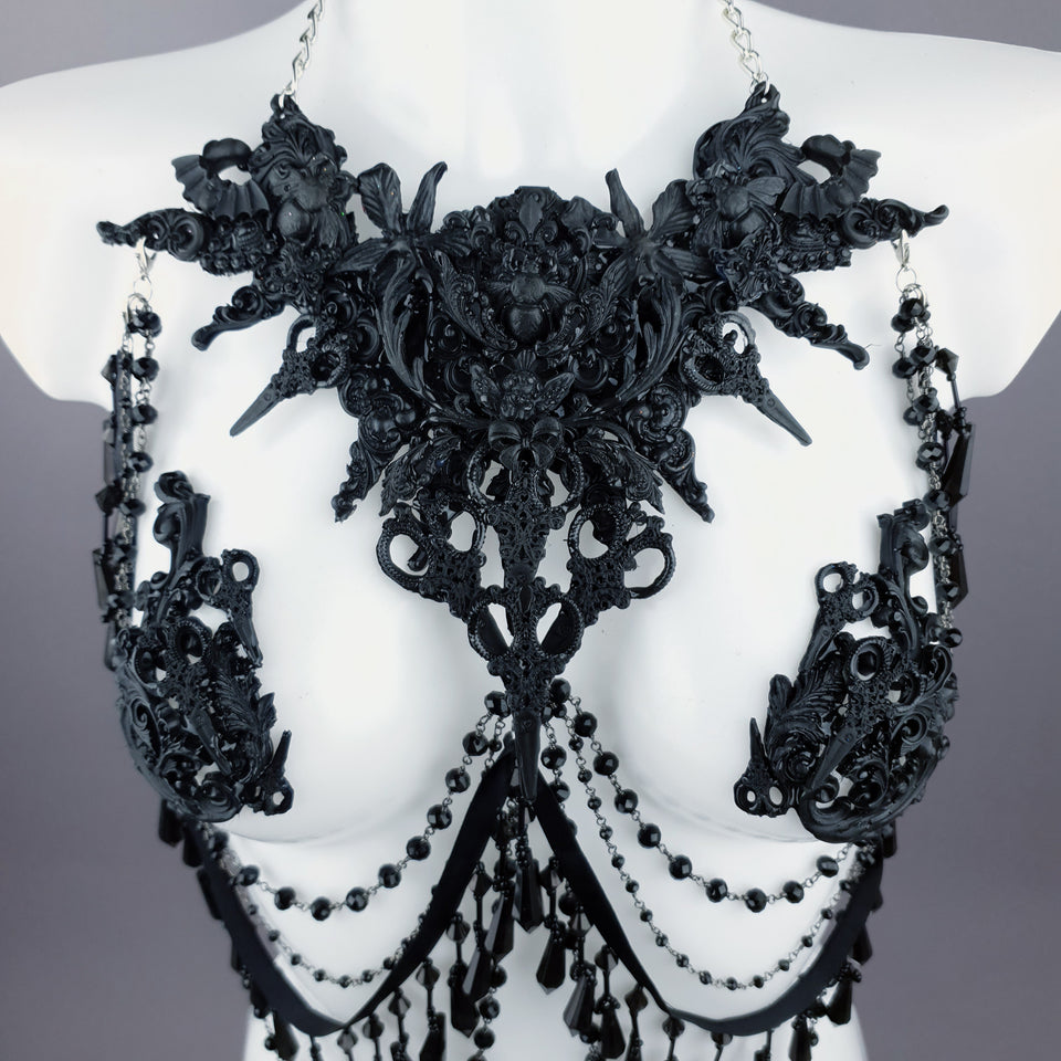 """Blade"" Black Scissors & Filigree Body Jewellery with Nipple Pasties"