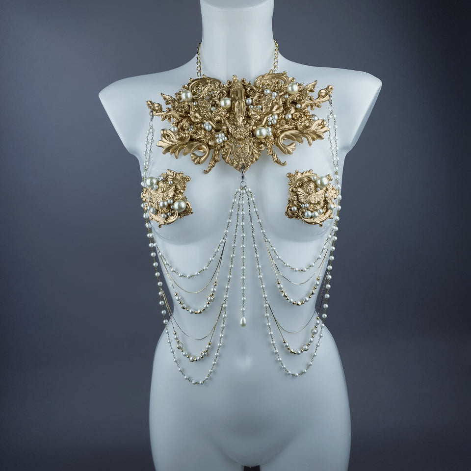 """Zora"" Gold Filigree & Pearl Body Jewellery & Nipple Pasties"