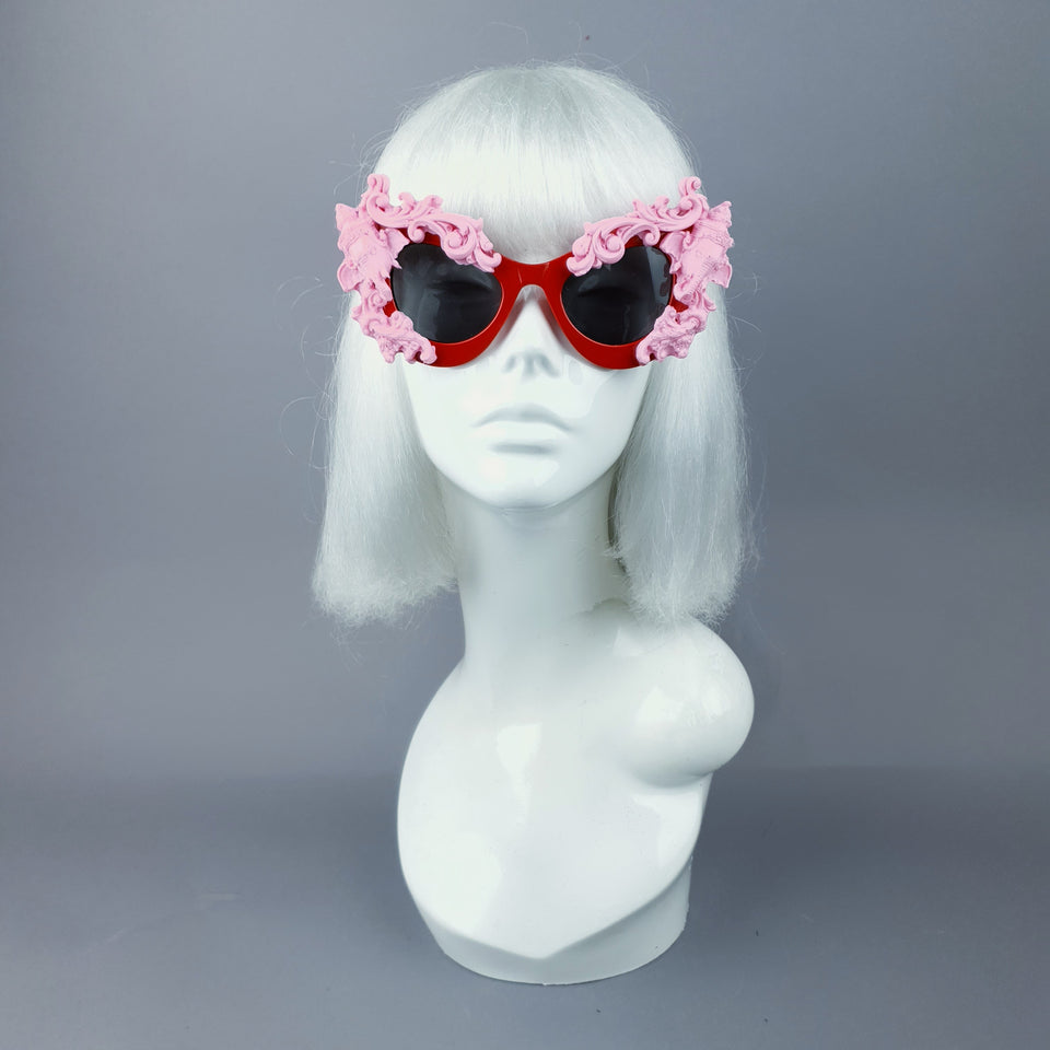 """Deva"" Pink Filigree Ganesh on Red Catseye Sunglasses"