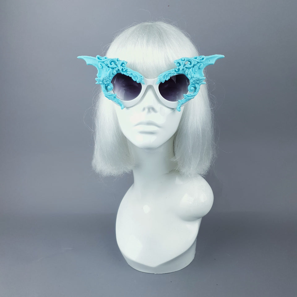 """Bathory"" Light Blue & White Filigree Ornate Bat Wing & Cherub Sunglasses"