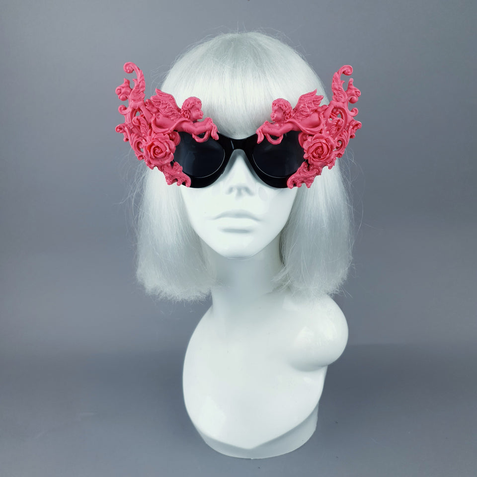 """Godiva"" Ornate Pink Filigree on Black Sunglasses"