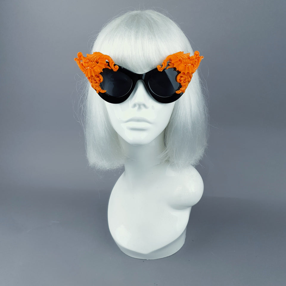 """Banshee"" Ornate Orange Filigree & Bats on Black Sunglasses"