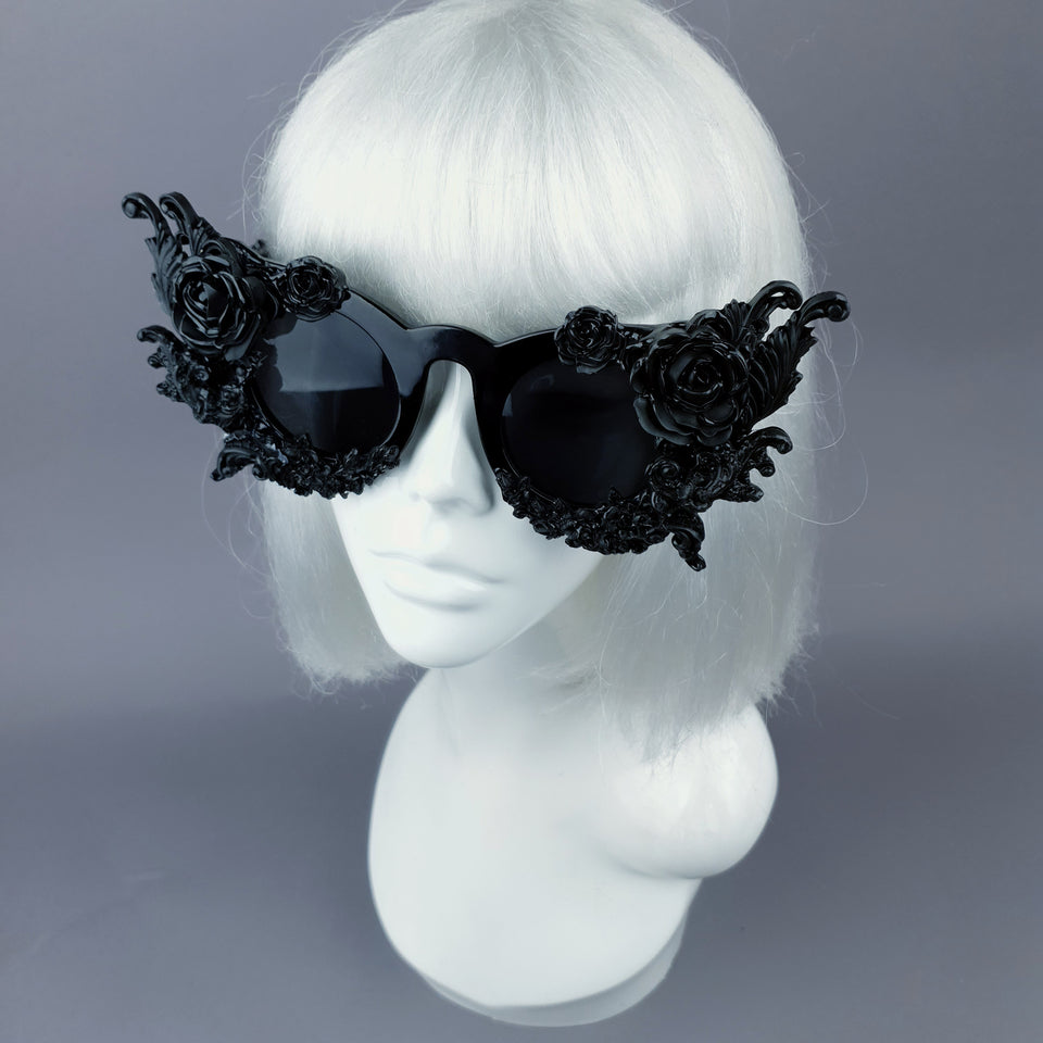 """La Belle Otero"" Ornate Black Filigree on Black Sunglasses"