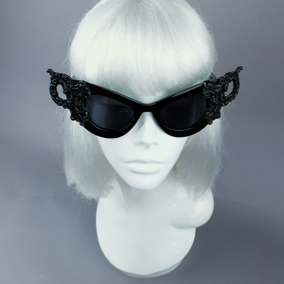 """Maila"" Black Filigree Catseye Sunglasses"