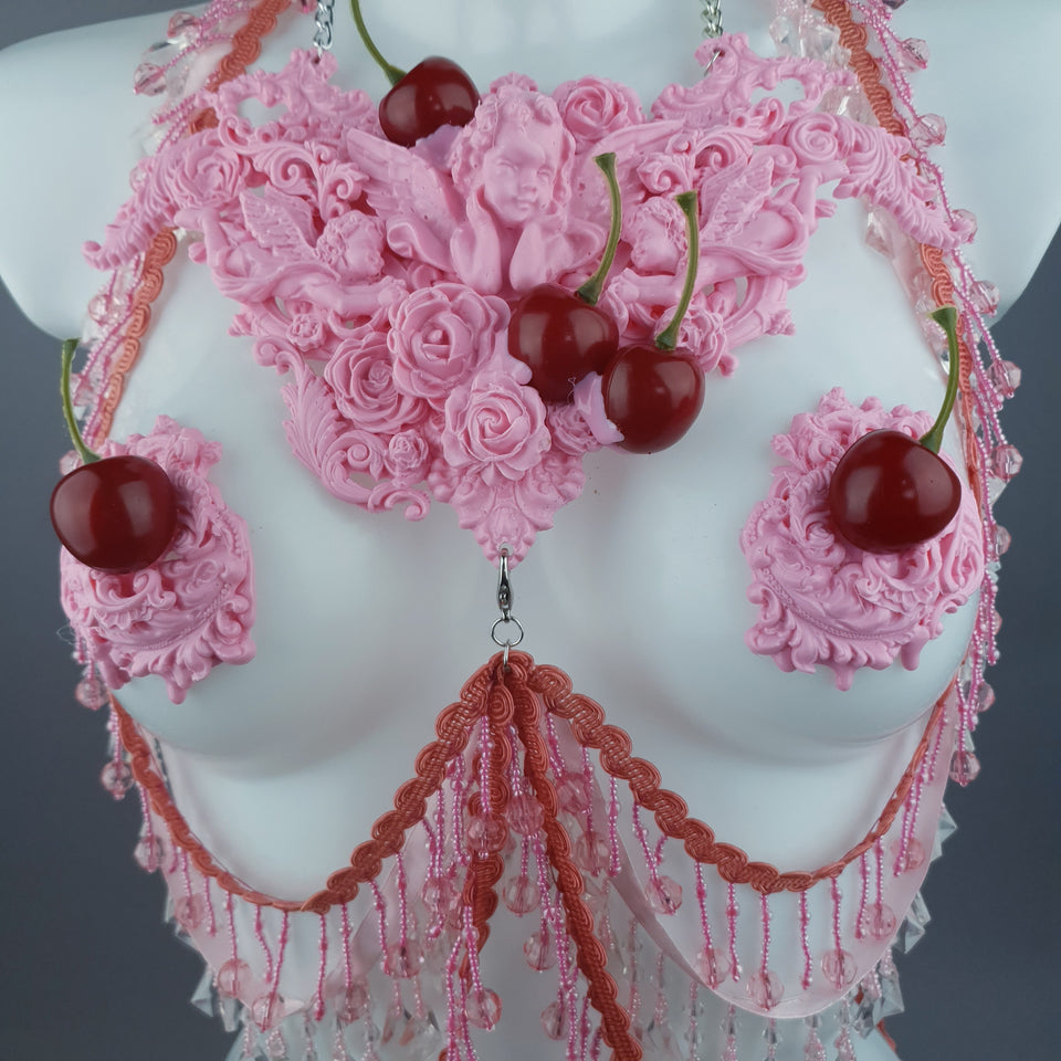"""Sukero"" Pink Cherry Filigree & Beading Body Jewellery with Nipple Pasties"