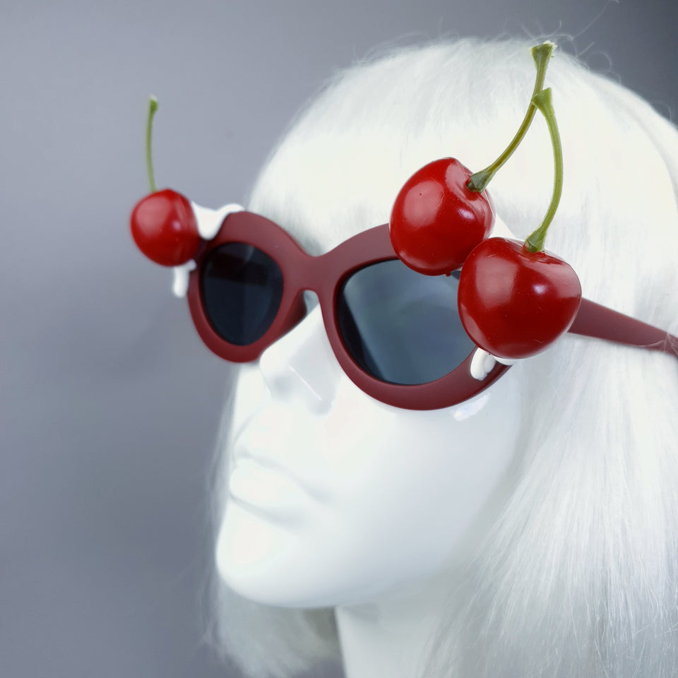 "SPECIAL OFFER: ""Dulcedo"" Cherry White Frosting Red Catseye Sunglasses"
